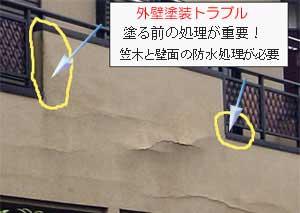 外壁塗装トラブル。笠木と外壁間の防水処理をしないで塗装